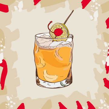 Whiskey sour cocktail illustration. Alcoholic bar drink hand drawn vector. Pop art