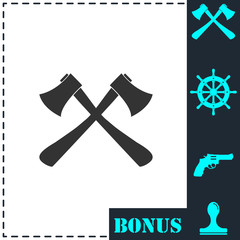 Lumberjack axes crossed icon flat