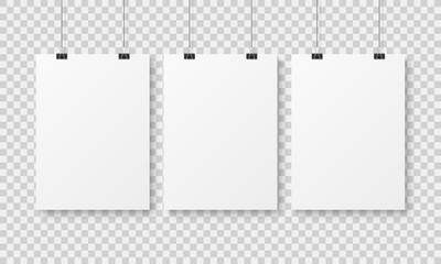 White blank poster template. Affiche wall paper posters, abstract clean advertising hanging sheet with binders mockup