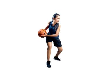 Young asian girl playing basketball