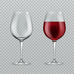 Realistic wineglass. Empty and with red wine wineglasses isolated glassware vector illustration