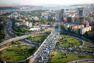 Highway road in city center in Istanbul, Turkey.