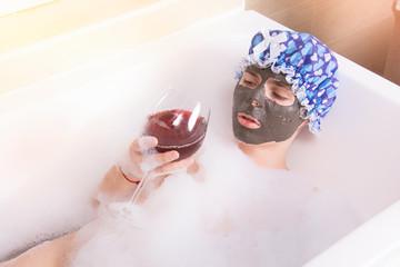 Care and self-care. Wine and bath.