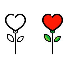 cartoon heart flower outline vector set