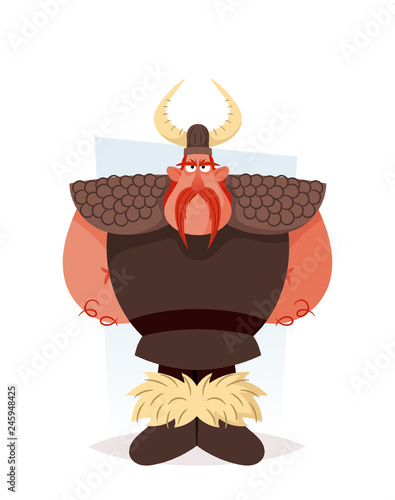 Funny Viking Cartoon Style Vector Illustration Stock Image And