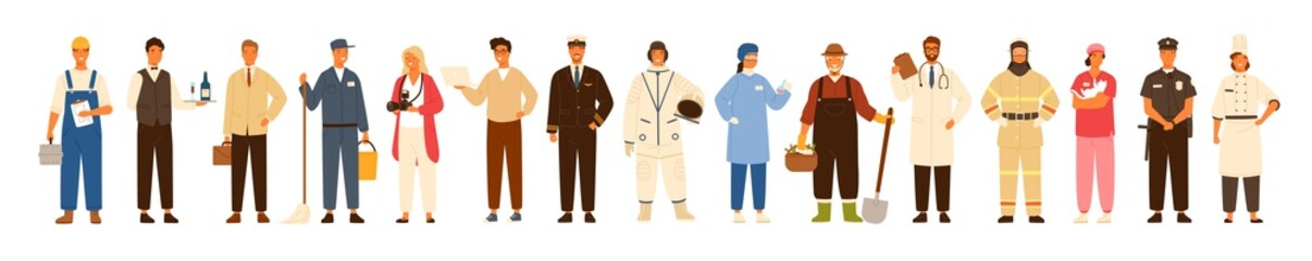 Collection of men and women of various occupations or profession wearing professional uniform - construction worker, farmer, physician, waiter, cleaner, astronaut. Flat cartoon vector illustration.
