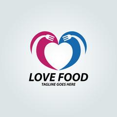 Love food logo design template. Vector illustration