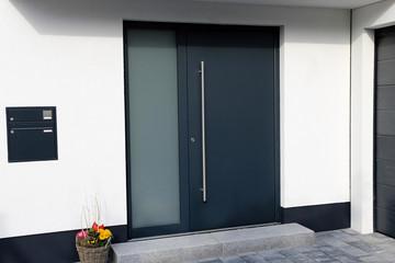 Modern new anthracite grey front door