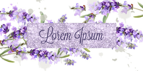 Lavender card watercolor Vector. Flowers bouquet background. Spring delicate banner. Wedding invitation, Women day, birthday templates