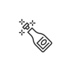 Champagne bottle popping line icon. linear style sign for mobile concept and web design. Champagne explosion outline vector icon. Wedding party symbol, logo illustration. Pixel perfect vector graphics