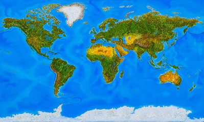 Earth. Planet Earth without civilization. Depths and heights - analysis and combination of several maps.