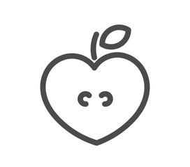 Heart shaped apple line icon.