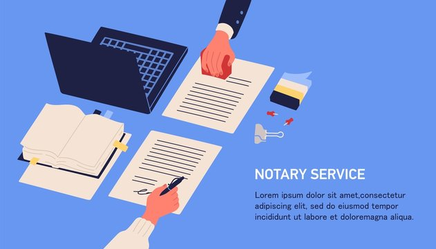 Notary service advertisement. Horizontal web banner in blue color with hands witnessing legal documents by signature and seal or stamp and place for text. Colorful vector illustration in flat style.