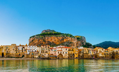 View of the old beautiful italian coastal city Cefalu in Sicily, Italy