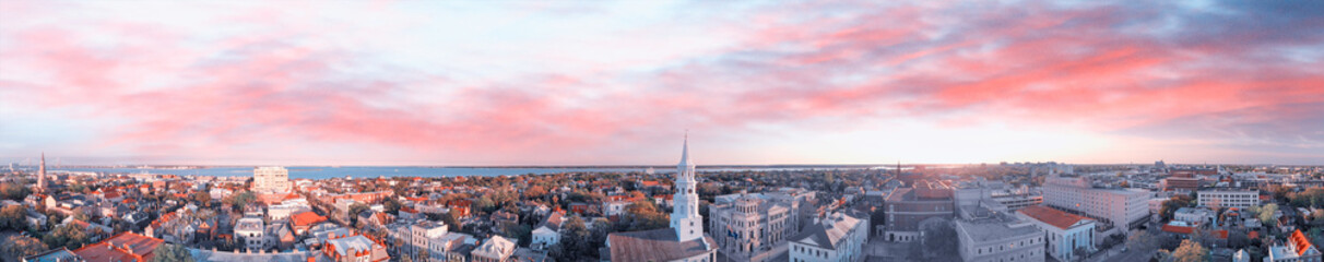 Panoramic aerial view of Charleston skyline, South Carolina