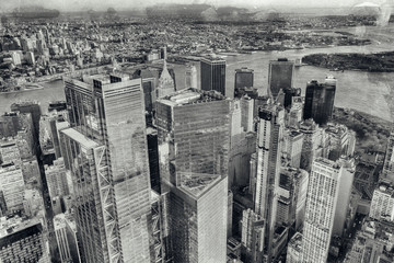 Wall Mural - Helicopter aerial overhead view of Downtown Manhattan skyscrapers, New York City