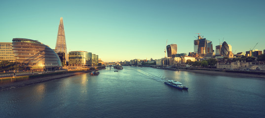 morning in London, river Thames from Tower Bridge, UK Wall mural