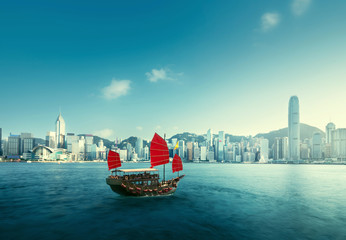 Aluminium Prints Asian Famous Place Hong Kong harbour