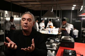 Spanish chef Adria gestures during interview backstage at Madrid Fusion gastronomic fair