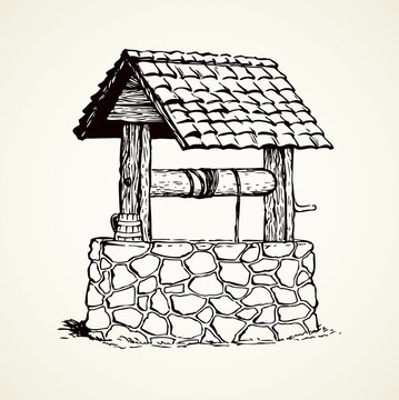 Ancient well. Vector drawing