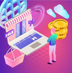 Online shopping. Vector illustration of business. Sale, internet, design. Digital marketing picture.