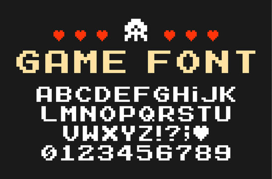 Set of vector letters in retro style. Game design. Font of old games. 8 bit letters and numbers vector alphabet.