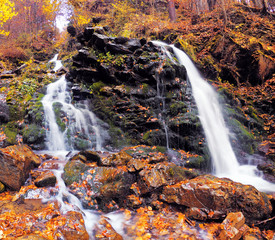 waterfall at the autumn forest