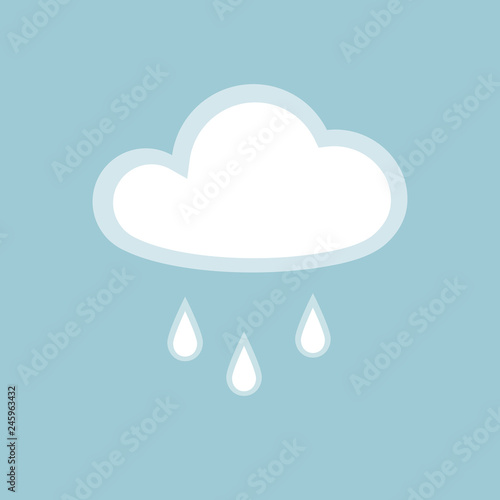 Cloud rain icon element simple app Isolated symbol on blue background Icon cloudy rainy wet weather