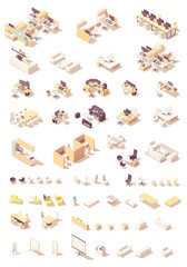 Vector isometric office furniture