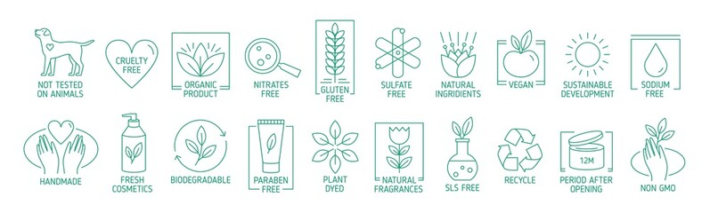 Collection of linear symbols or badges for natural eco friendly handmade products, organic cosmetics, vegan and vegetarian food isolated on white background. Vector illustration in line art style. Wall mural