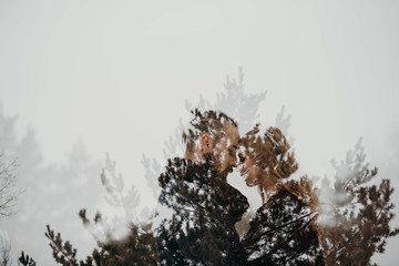 Art photo from camera. Double exposure of couple in love and tree of forest. Valentine art concept.