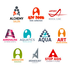 Letter A, corporate identity, business icons