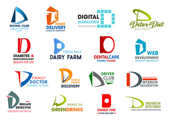 Business icons, letter D, corporate identity