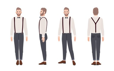 Handsome bearded man wearing trousers with suspenders, shirt, bow tie. Elegant outfit. Stylish male cartoon character isolated on white background. Front, side, back views. Flat vector illustration.