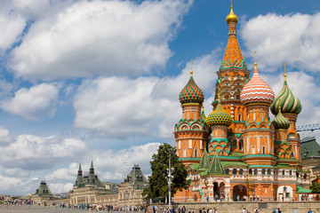 Russia, Cityscape with Saint Basil's Cathedral in Moscow