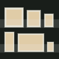 Blank postage stamp set. Toothed border stickers in different size. Vector flat style illustration on dark background