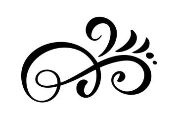 Vector vintage line elegant dividers and separators, swirls and corners decorative ornaments. Floral lines filigree design elements. Flourish curl elements for invitation or menu page illustration
