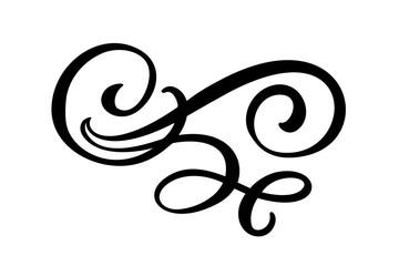 Floral lines filigree design elements. Vector vintage line elegant dividers and separators, swirls and corners decorative ornaments. Flourish curl elements for invitation or menu page illustration