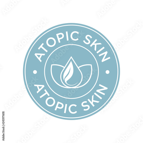 Atopic skin icon  Label with skin type indicator for