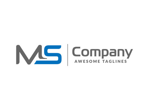 initial letter MS geometric strong monogram logo vector illustration isolated on white background