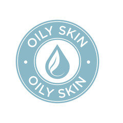 Oily skin icon. Label with skin type indicator for personal care products.