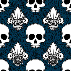 Seamless ethnic pattern with lotus and skulls image. Handmade.