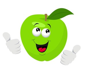 Cartoon Apple Character Giving Thumbs Up. Vector illustration on white background