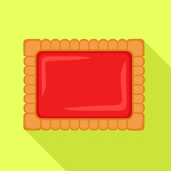 Red jelly biscuit icon. Flat illustration of red jelly biscuit vector icon for web design