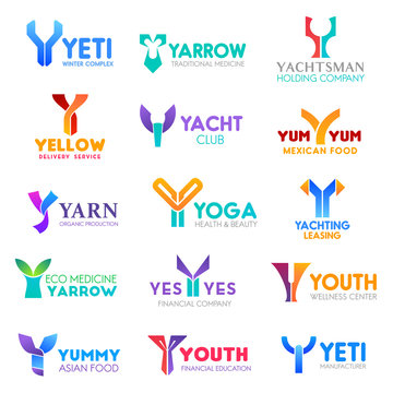 Business icons, letter Y, corporate identity