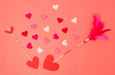 beautiful red valentine background with love arrows and hearts
