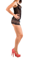 Woman wearing sexy lingerie isolated