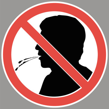 Sign-do not spit. Information prohibiting a person from performing certain actions in the environment.