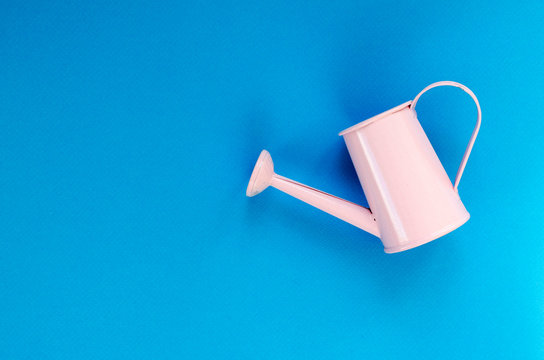 pink small watering can on blue background
