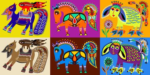 set of indian kalamkari style tribal ethnic painting